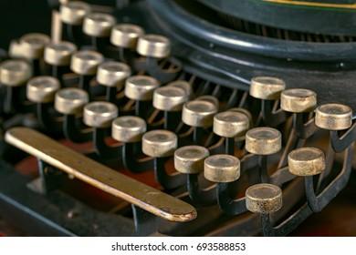 Vintage typewriter.  Close-ups of an old typewriter.