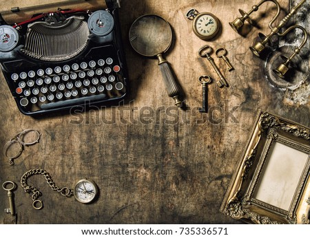 Vintage Typewriter, Golden Frame, Old Office Accessories On Wooden Table.  Still Life