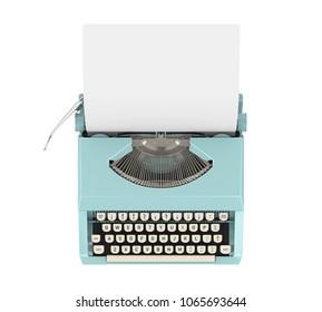 Vintage Typewriter Isolated (top view). 3D rendering