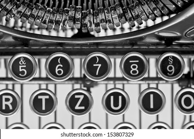 Vintage typewriter keys. Close up