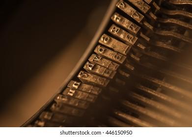 Vintage typewriter keys macro detail with blur background