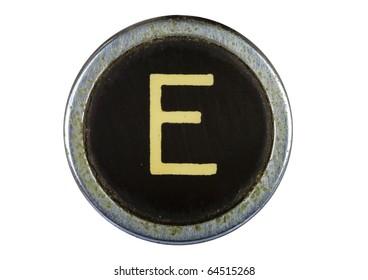 Vintage typewriter letter E isolated on white