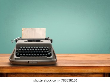 Vintage typewriter with old paper. retro machine technology