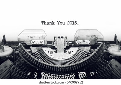 Vintage typewriter on white background with text thank you 2016.