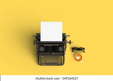 vintage typewriter paper and cup of coffee latte art on the color background
