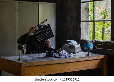 Vintage Typewriter, table, old phone, cinema and videomaking Concept