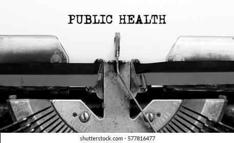 Vintage Typewriter with text PUBLIC HEALTH