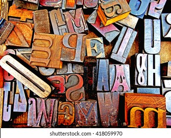 Vintage Typography. Wooden blocks, letterpress