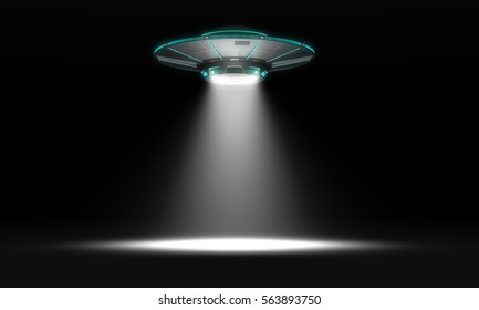 Vintage UFO isolated on black. 3d illustration