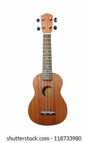 Vintage ukulele on white isolated.