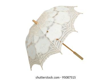 vintage umbrella isolated on white