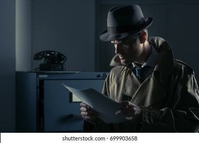 Vintage undercover agent stealing files in a corporate office late at night, security and data theft concept