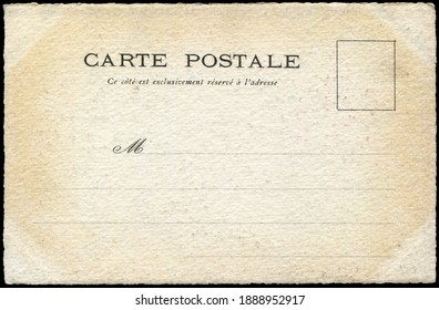 Vintage undivided French postcard in early 1900s, a very good background for any usage of the historic postcard communications.  Letters on the card means: Postcard, address only on this side .