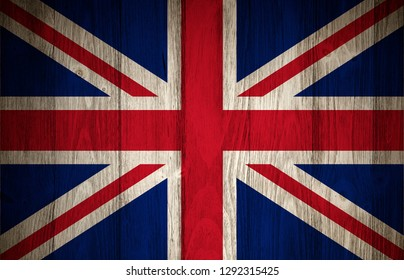 Vintage United Kingdom or Great Britain Flag on a wood plank textured background.