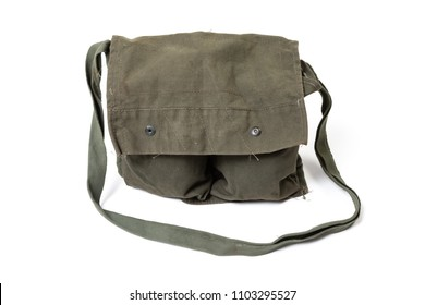 Vintage US Army carrying sack, worn on the back, made of green canvas, isolated on white