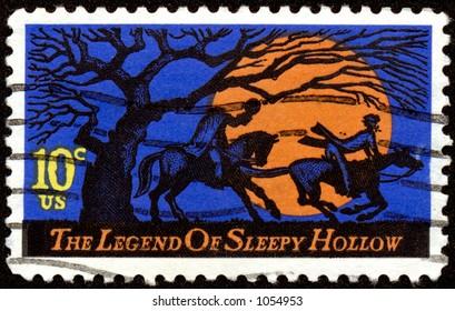 Vintage US Legend of Sleepy Hollow Halloween stamp. Ten cents.
