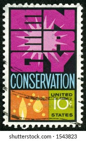 A vintage US Postage Stamp from the 1970s depicting the theme of Engery Conservation