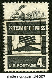 A vintage US Postage stamp depicting the Freedom of the press.