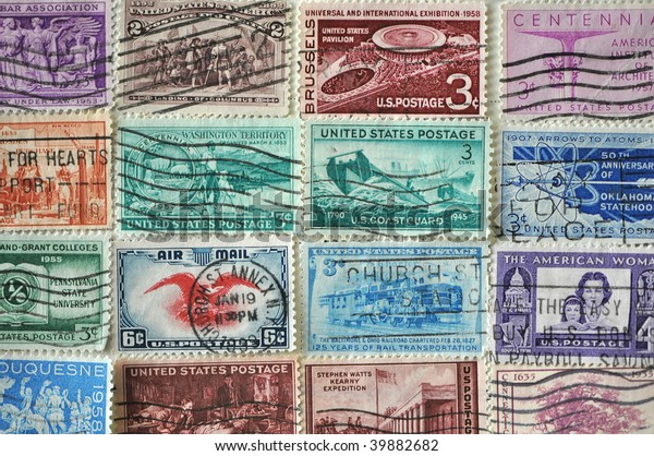 Vintage Us Postage Stamps Collection Used Stock Image