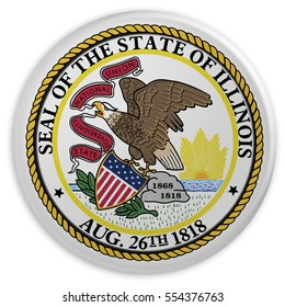 Vintage US State Button: Dirty Desaturated Illinois Flag Badge, 3d illustration on white background