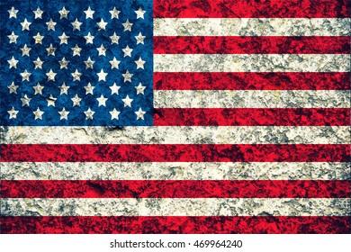 Vintage USA flag on stone background