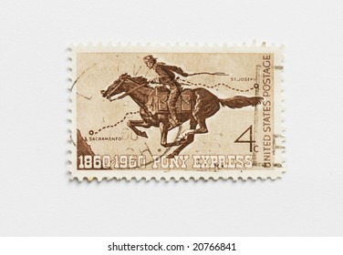 Vintage usa postage stamp of Pony express of 1960. To commemorate the hundred years anniversary of the Pony Express between Sacramento and St. Joseph