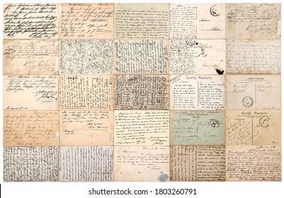 Vintage verwendet Papier Textur Hintergrund. Antike Postkarten. Alte handgeschriebene undefinierte Texte aus ca. 1900.