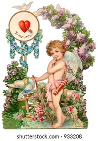 A vintage Valentine illustration of a cupid (circa 1890)