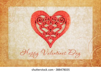 Vintage Valentines Day background with hearts