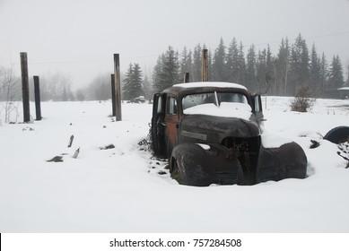Vintage Vehicles in Snow