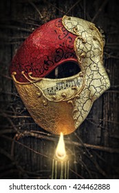 Vintage Venetian Musical Notes Mask with Candle