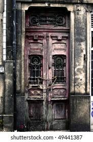 Vintage version of old door in Porto, Portugal