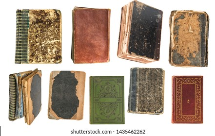 Vintage very old books isolated on white background. Old Library