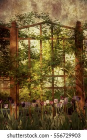 Vintage or Victorian style dramatic outdoor garden backdrop or background scene with wooden fence, vines and tulips.
