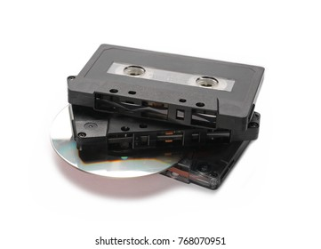 Vintage video cassette - VHS tape with CD, isolated on white background