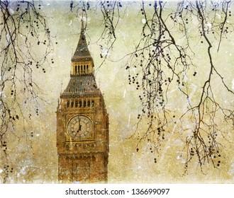 Vintage view of Big Ben