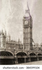Vintage view of Big Ben, London.