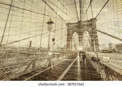 Vintage view of Brooklyn Bridge