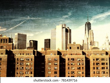 Vintage view of New York City skyline.