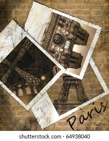 Vintage view of Paris. Grunge background