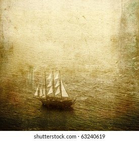 Vintage view of a sailing ship
