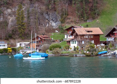 vintage village around lake Thun, Switzerland