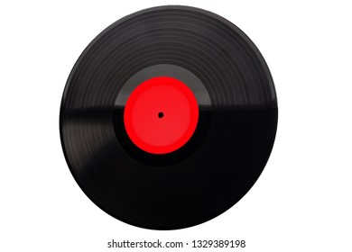 Vintage vinyl  LP isolated.  Vinyl black record play music vintage. With clipping path