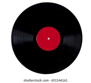 Vintage vinyl lp record with red label. Isolated.