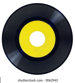 Vintage vinyl record with blank label isolated over a white label.