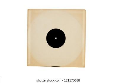 Vintage vinyl record in sleeve over white.