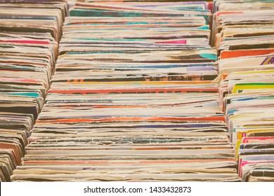 Vintage vinyl turntable records on a flee market