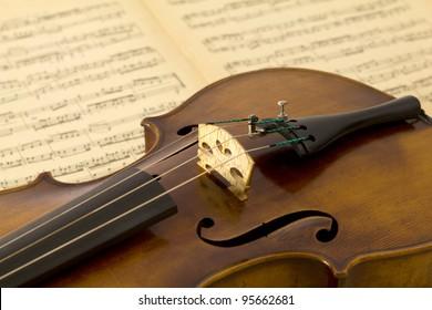 Vintage viola on sheet music background