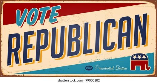 Vintage Vote Republican metal sign - Raster version.