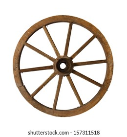 Vintage wagon wheel isolated on white background